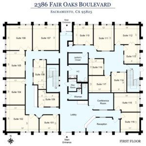 Sierra Oaks Executive Offices Sacramento Floor Plan 1st Floor