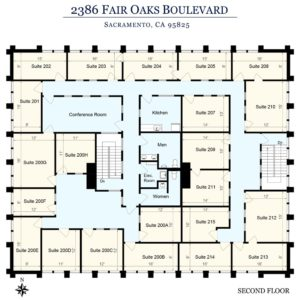 Sierra Oaks Executive Offices Sacramento Floor Plan 2nd Floor
